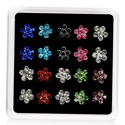 Crookston 10 Pairs/Set Round Stars Cross Flowers Shiny Crystal Stud Earrings Set Jewelry | Model ERRNGS - 1823 |