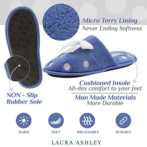 Laura Ashley Ladies Embroidered Soft Terry Scuff Slipper