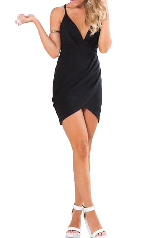 Abetteric Women's Bandage V Neck Sling Bodycon Backless Long Dress