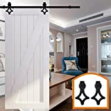 HomeDeco Hardware 6.6 FT Rustic Style Sliding Door Hardware Modern Interior Steel Hanging Single Barn Door Rails Wheel Closet Track Kit