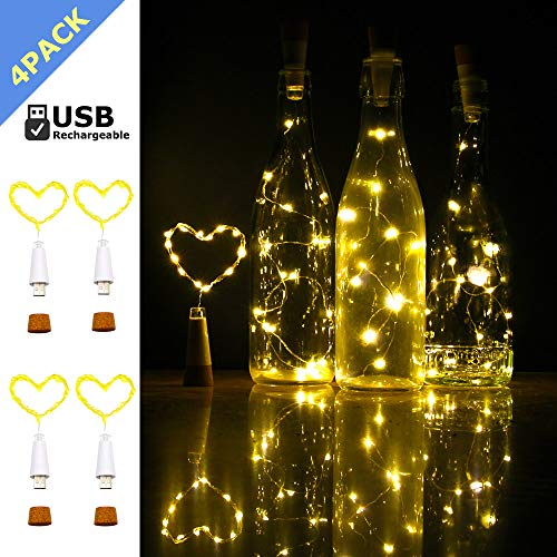 iMazer Wine Bottle Cork Lights, Rechargeable USB Powered Copper Wire String Starry LED Light for DIY,Party,Home Decor,Christmas,Wedding or Mood Lights Wine Bottle Decorations (Warm White 4 Pack)
