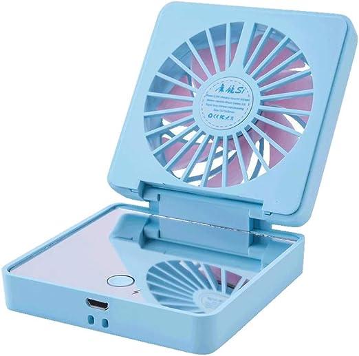 ZD-SPORT Mini ventilador plegable con espejo de maquillaje, ajuste ...