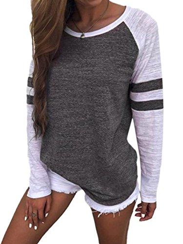 Grey Tunic Top (WD-Amour Women's Casual Round Neck Long Raglan Sleeve Baseball T-Shirt Tunic Tops(M,Dark grey))