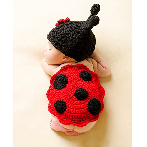 Lady Bug Infant Costumes (Zonegear Baby Photo Prop Outfit Newborn Knit Crochet Photopraphy Ladybug Clothes (Flower))