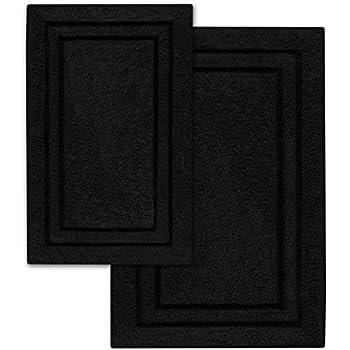 Amazon Com Popular Bath 2 Piece Chenille Rug Set Black