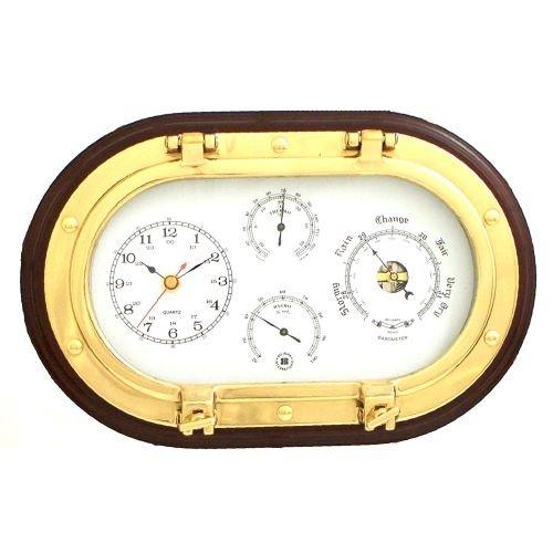 Bey-Berk SQB549 Lacquered Brass Oval Porthole Quartz Clock, Barometer, Thermometer and Hygrometer on Mahogany Wood. Black ()