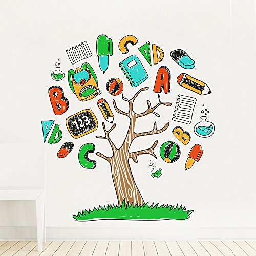 DecalMile Cartoon Alphabet Stationery Tree Wall Stickers Removable Wall Decals Murals For Children's Room Nursery Classroom Kids Bedroom