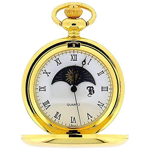 Boxx Goldtone Sun and Moon Phase Dial Pocket Watch 12 Inch Chain ()