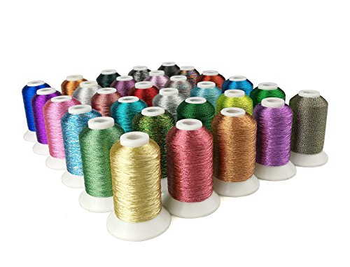 Sinbel 30 Colors Metallic Embroidery thread for Brother Babylock Janome (Metallic Thread Cone)