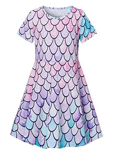 Girls Short Sleeve Dress 3D Print Cute Colorful Mermaid Fish Scale Sequin Pattern Summer Dress Casual Swing Theme Birthday Party Sundress Toddler Kids Twirly Skirt