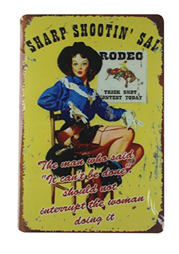 (WholesaleSarong Rodeo Lady American Western tin Metal Sign Wall Decor plaques Pub Studio)