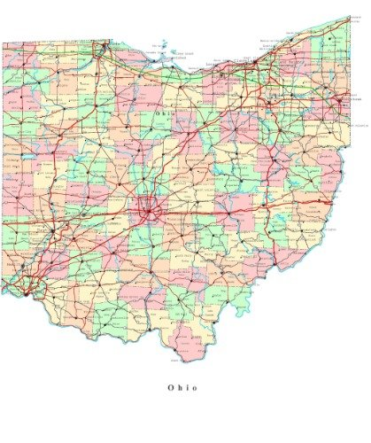 OHIO STATE ROAD MAP GLOSSY POSTER PICTURE PHOTO BANNER city county Columbus