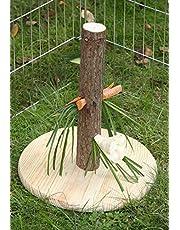 Kerbl Karmnik Nature dla gryzoni/królików (odmiana, zabawka dla gryzoni, wysokość 30 cm, dozownik pokarmu z drewna, drzewo do przekąsek z płytą podłogową) 84408