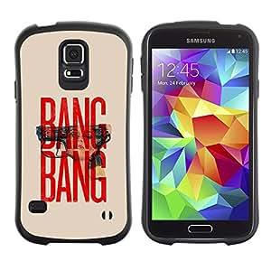 Paccase / Suave TPU GEL Caso Carcasa de Protección Funda para - Gun Text Red Beige Minimalist War - Samsung Galaxy S5 SM-G900