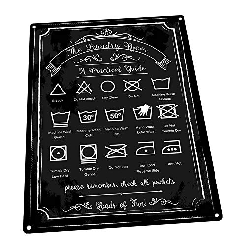 - Laundry Guide Metal Sign, Home Decor, Modern Decor, Laundry Room Decoration