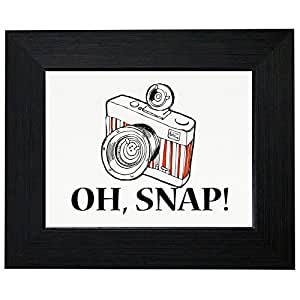 Oh Snap! - Fun Trendy Graphic Design of Camera Framed Print Poster Wall or Desk Mount Options