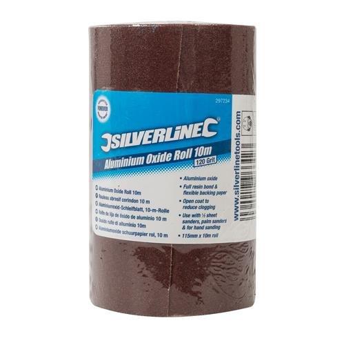 Silverline 297234 - Rollo de lija de ó xido de aluminio 5 m (10 m, Grano 120) Toolstream