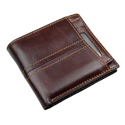 HASFINE Men's RFID Blocking Bifold Wallet Genuine Leather Purse with ID Window Extra Credit Card Holder Case (Chocolate - Horizontal design)