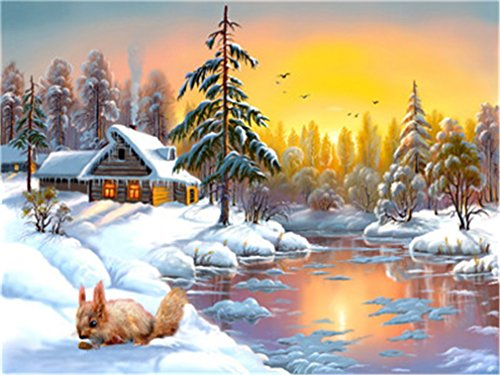 YEESAM ART DIY Paint by Numbers for Adults Beginner Kids, Squirrel and Pine in The Snow 16x20 inch Linen Canvas Acrylic Stress Less Number Painting Gifts (Squirrel, with Frame)