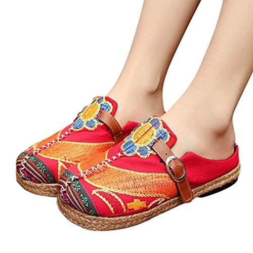 Giy Femmes Mocassins Backless Plat Mocassin Exotique Slip-on Boucle Ronde Toe Lin Robe Casual Chaussures Rouge