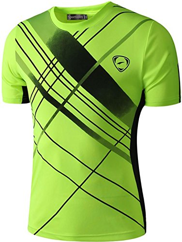 Sportides Boy's Quick Dry Active Sport Short Sleeve Breathable T-Shirt Tee Top LBS701 GreenYellow S