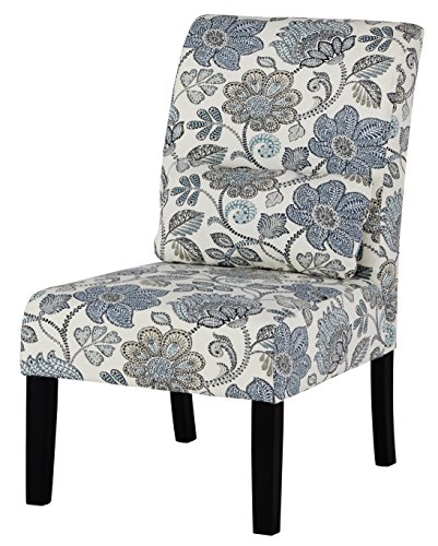Ashley Furniture Signature Design - Sesto Accent Chair w/Pillow - Contemporary - Floral Pattern in Shades of Blue/Cream - Black Finish (Floral Pattern Shade)