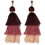 Wcysin Long Tassel Drop Earrings and Clip on Earrings Pierced for Women Layer Tassel Earrings (Pink)