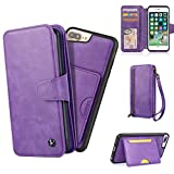 Cornmi iPhone 7 Wallet case,iPhone 8 Wallet Case Premium PU Leather Zipper 2-in-1