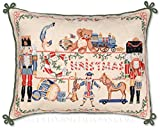 Extra Large Classic Traditional Antique Style Handmade Decorative Winter Holiday Christmas Presents Toys Nutcracker Soldier Needlepoint Throw Pillow. 22'' x 28''.