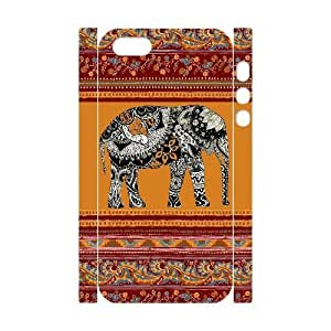 Custom Cover Case with Hard Shell Protection for Iphone 5,5S 3D case with Elephant Art on Aztec lxa#430873