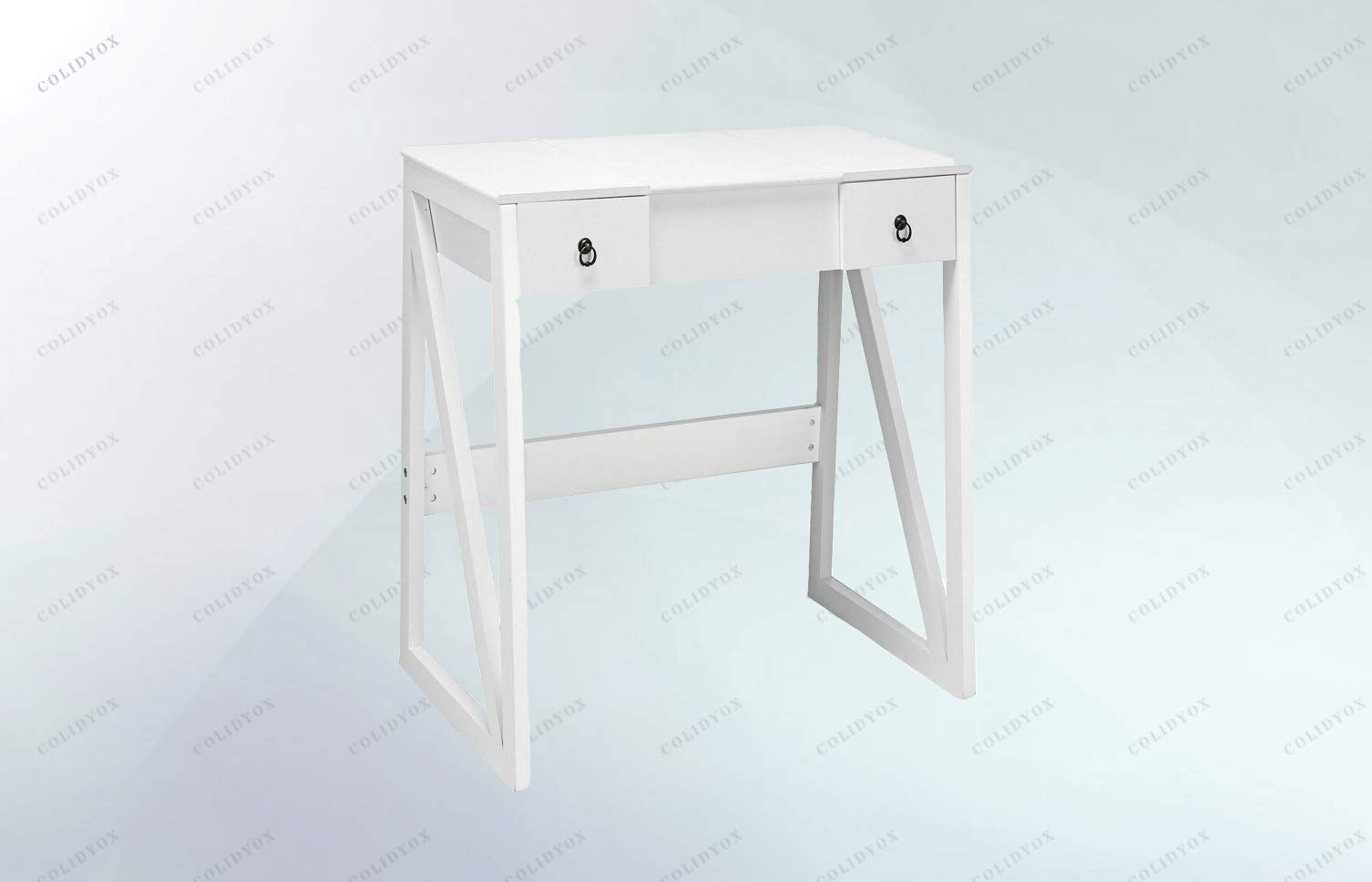 COLIDYOX>>>Vanity Dressing Table Set Flip Makeup Mirror Stool Furniture The Vanity Set is Multifunctional as a Writing Table with a flip Mirror on top. The Natural White Wood Style Vanity Table