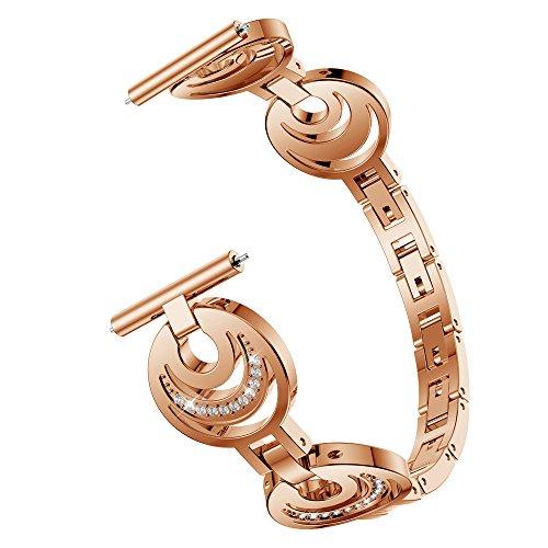 Hhoo Women Rhinestone Diamond Bling Bracelets Stainless Steel Metal Replacement Band for Fitbit Blaze SL Smart Watch Link,193MM