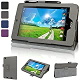 Evecase SlimBook Leather Folio Stand Case Cover for Acer Iconia One 7 B1-730 B1-730HD 7-Inch Android Tablet (2014 Released) - Gray