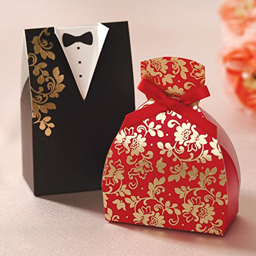 Joinwin® 100x Black Red Wedding Favor Boxes Bride And Groom Floral Gown&Tuxedo Gift Box Candy Box