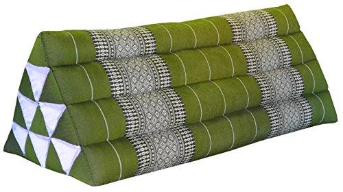 Thai triangular cushion XXL, green, relaxation, beach, kapok, made in Thailand.. (81815) by Wilai GmbH