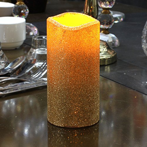 (Flameless Pillar LED Candle with Timer, Battery Operated vanilla Scent,Ivory, 3 x)