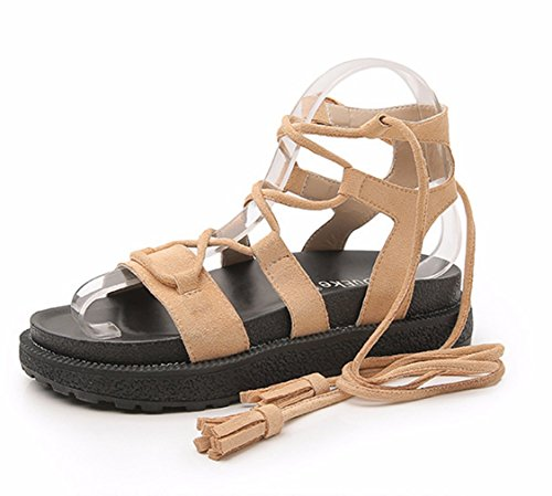 Knotted Platform - Zarbrina Womens Mid-Heeled Thong Elastic Straps Flat Sandals Summer Strappy Lace up Knotted Platform Shoes Apricot