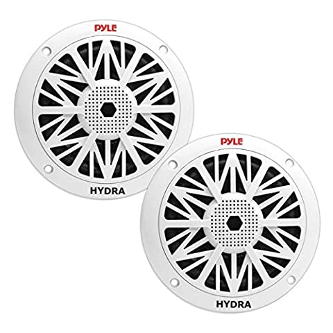 Pyle PLMR62 Dual 6.5'' Water Resistant Marine Speakers, 2-Way Full Range Stereo Sound, Built-in Tweeters, 200 Watt, White (2006 Toyota Sequoia Speakers)