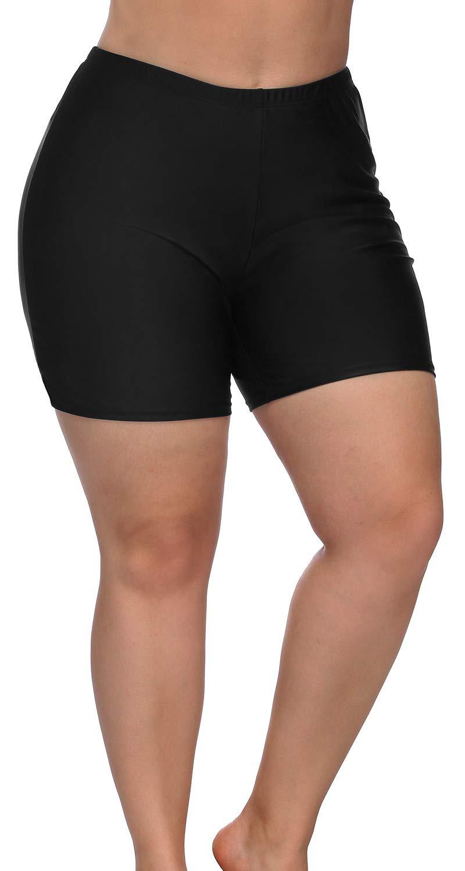Sociala Black Bathing Suit Bottoms for Women Plus Size Tummy Control Swim Shorts
