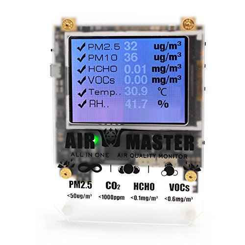 AM6 CE Certified DIY 6 Detector Index in 1 Indoor Air Quality PM2.5 Detector PM10 Detector HCHO Detector Detector VOC Detector Humidity Detector Temperature Sensor with DART (4in 1 Laser Level)