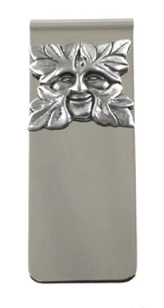 Williams British Crafted Green Man Money Clip Stainless Steel Pewter Accent A.E