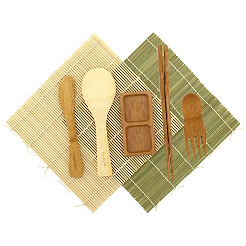 BambooMN Sushi Maker Kit - Green and Natural Sushi Rolling Mats, Rice Paddle, Spreader, Chopsticks, Sushi Sauce Dish, and Free Spork - Deluxe Sushi Set