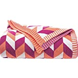 LakeMono Luxurious Crocheted Knitting Throw Blankets Super Soft Warm Orange and Pink Plaid Patterned Household Decorative Sofa Blankets (47.25×70.87 inches)