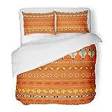 SanChic Duvet Cover Set Blue Southwestern Buffalo Pattern Red Arizona Desert Southwest Cactus Decorative Bedding Set 2 Pillow Shams King Size