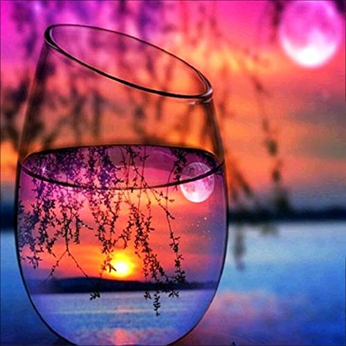 Smartcoco Wine Glass Sunset Under The Willow Tree 5D DIY Full Diamond Painting Wall Sticker 3D Diamond Mosaic Cross Stitch Embroidery Wall Craft Decor, 11.8