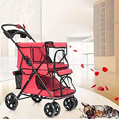 K&A Company Pet Stroller 4 Wheel Folding Cat Dog Breathable Carrier Travel Camping Portable Pet Cart, Coffee