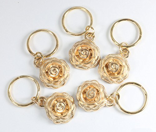 Bling Rings - 25 Hair Charms for Pierced Braid & Dreadlock - Accessories - Star Rose Feather Leaf Shell