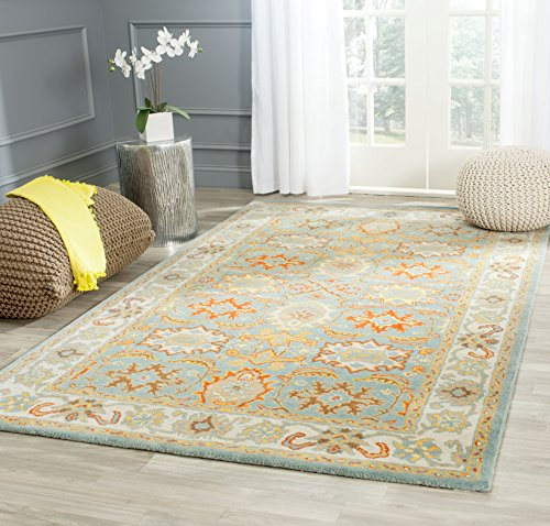 Safavieh Heritage Collection HG734A Handcrafted Traditional Oriental Light Blue and Ivory Wool Square Area Rug (8' Square)