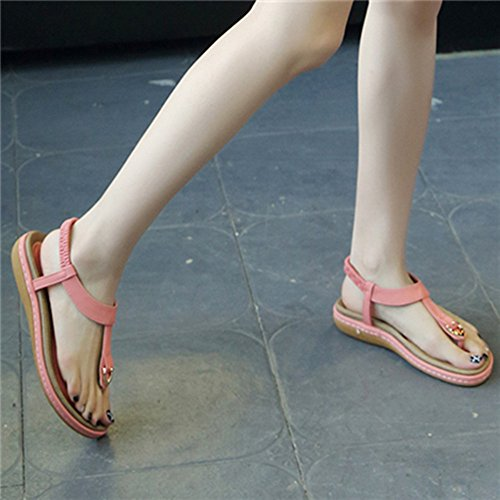 de Moda Bohemia Grande Rosa Talla Sandalias Verano 36 Azul Plano Playa Negro Chanclas Romanas Casuales Rosa Beige Zapatos Mujer 45 Bohe 0wAtvg