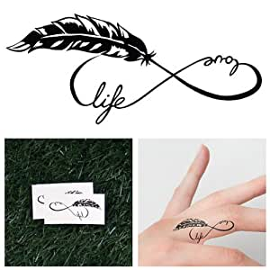 Tattify Feather Infinity Symbol Temporary Tattoo - Tree Hugger (Set of 2) Long Lasting, Waterproof, Fashionable Fake Tattoos